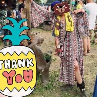 🚚 音樂祭 波西米亞 嬉皮 異國風 開衩印花洋裝 (附羽毛綁繩可當腰帶)
