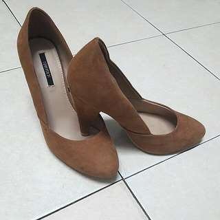 F21 Brown Suede Heels