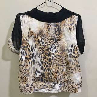 Black See Thru Blouse w/ Leopard print details