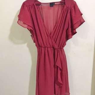 Maroon Flowy See Thru Dress