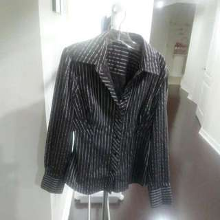 Ladies Brown Cream Striped Blouse Fitted Waist