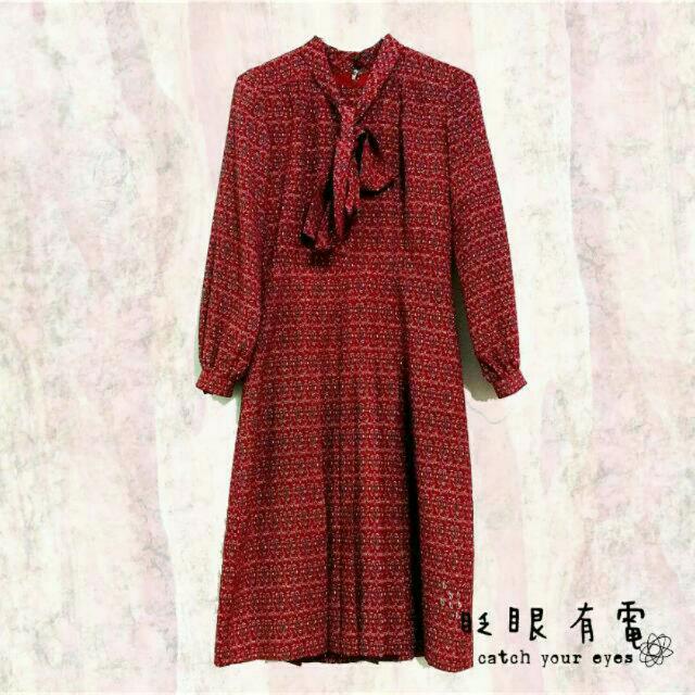 古著紅色圖騰洋裝