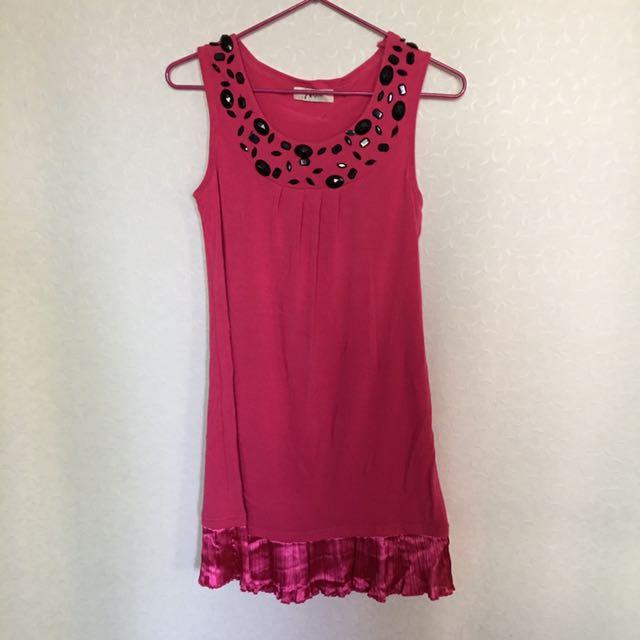 手工縫製寶石緞面裙擺小洋裝