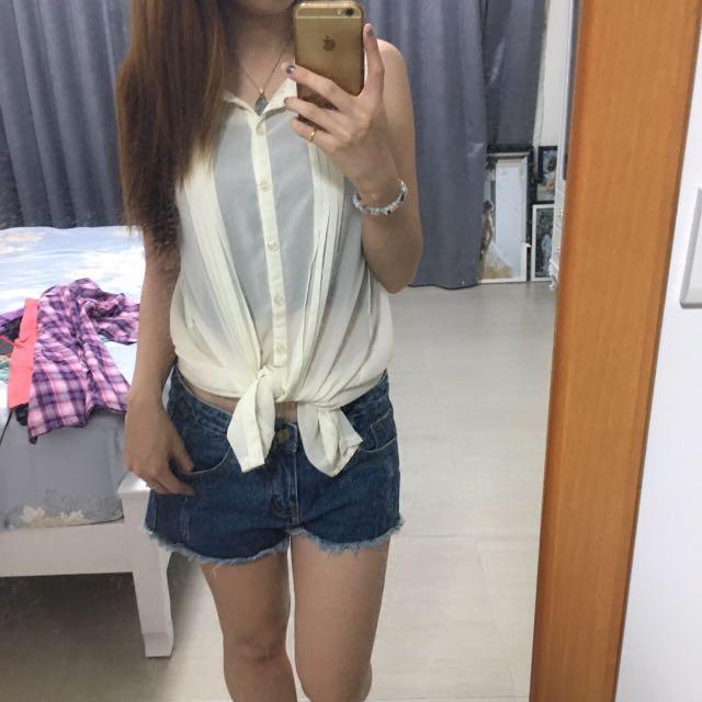 蕾絲雪紡無袖襯衫