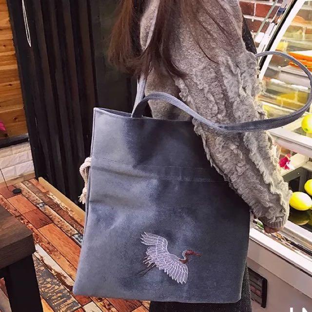仙鶴刺繡 側背包 肩背包 購物包