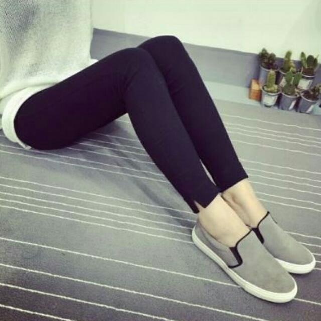 全新 現貨 熱賣 韓版側邊開叉修身顯瘦高腰內搭褲九分褲 黑色