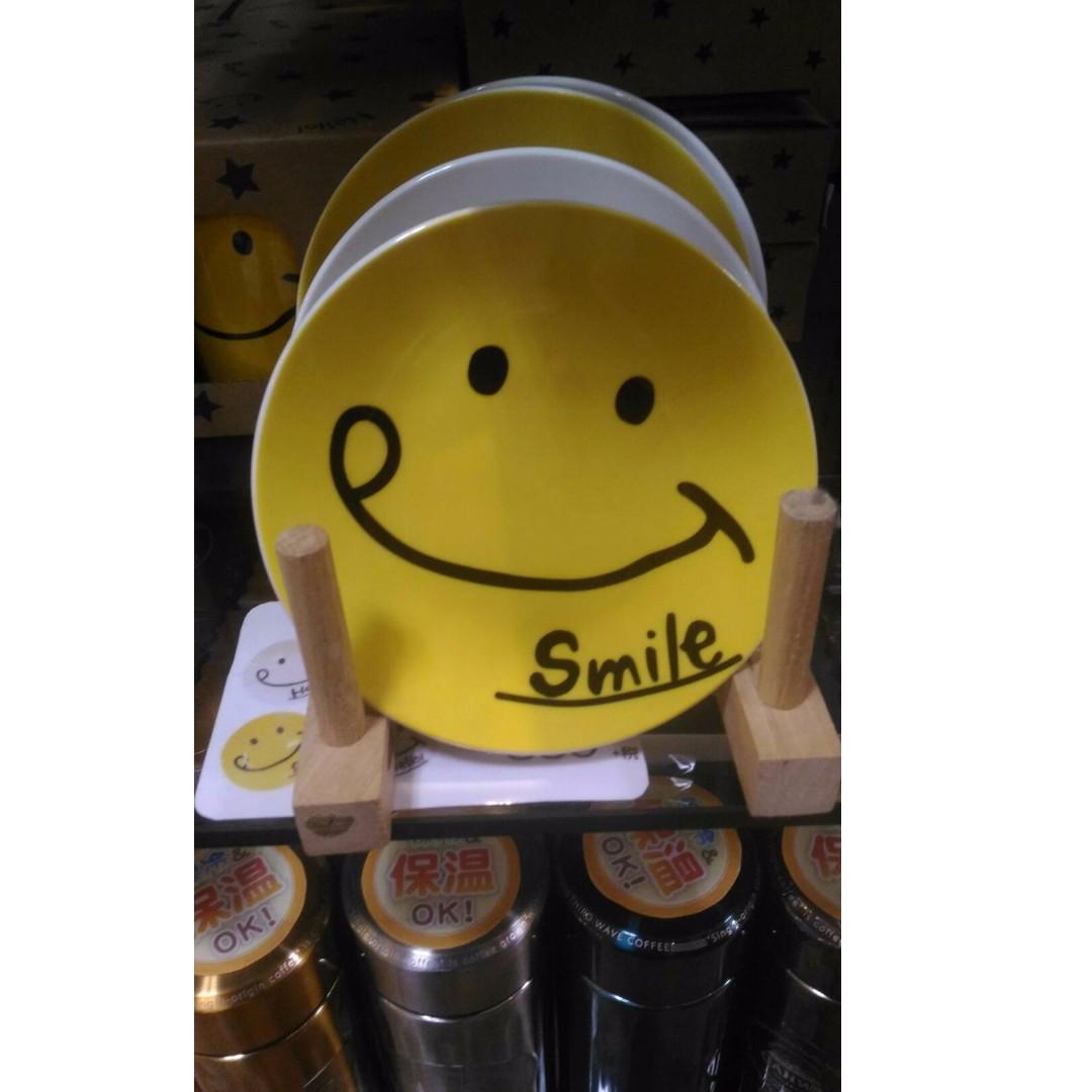 微笑 日本超可愛smile笑臉黃色和白色點心碟 二選一