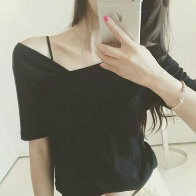 全新 現貨 韓版不對稱V領短袖T恤 黑色