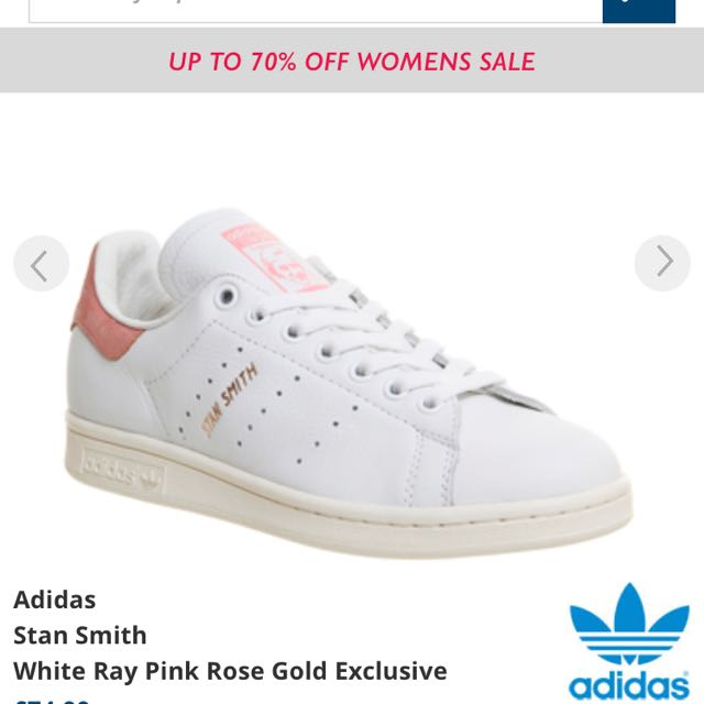 628dce0ca76c Adidas Stan Smith Shoes White Ray Pink Rose Gold
