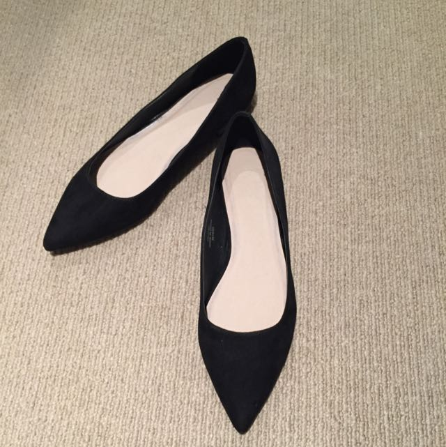 Asos Black Faux Suede Pointed Toe Flats