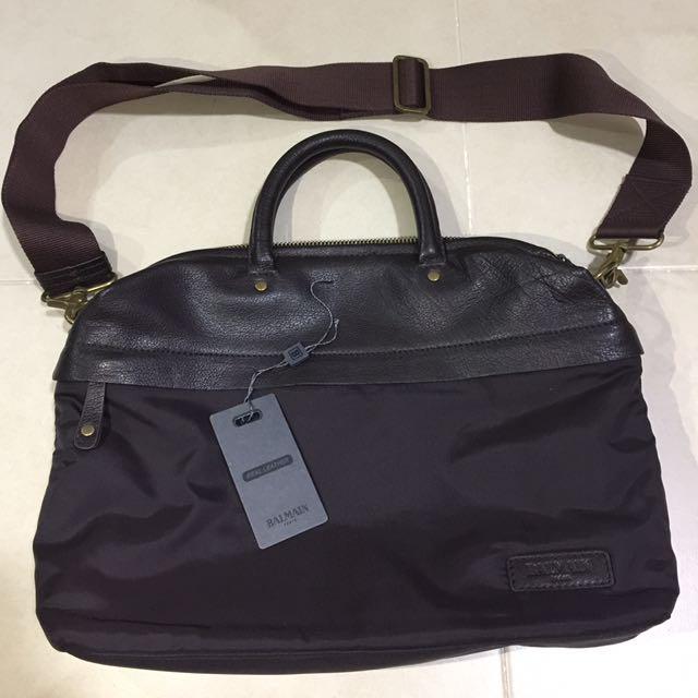 Authentic Balmain Nylon & Leather Briefcase Good As New
