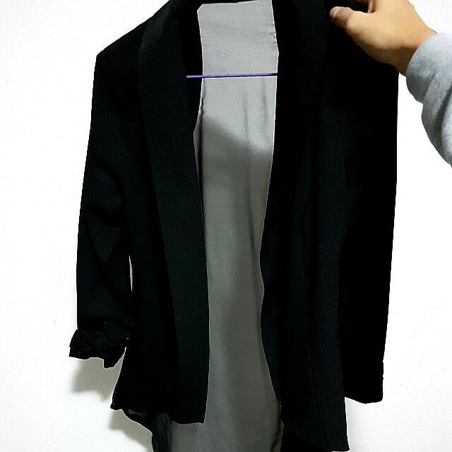 Black Chiffon Back Jacket