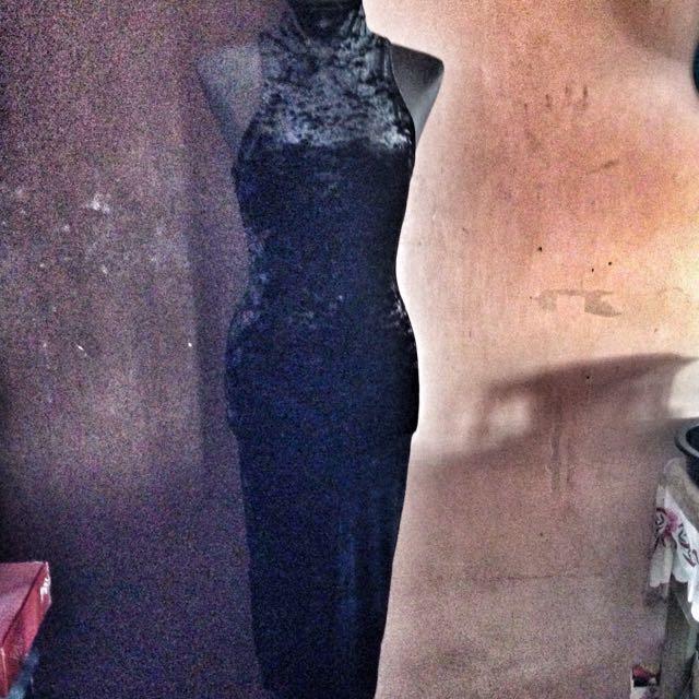 Black Turtle Neck Velvet Dress
