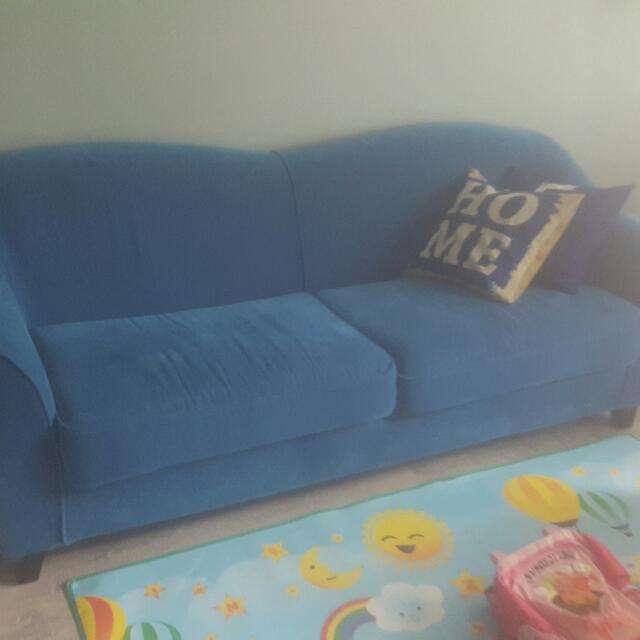 Blue Fabric Sofa Furniture Sofas On