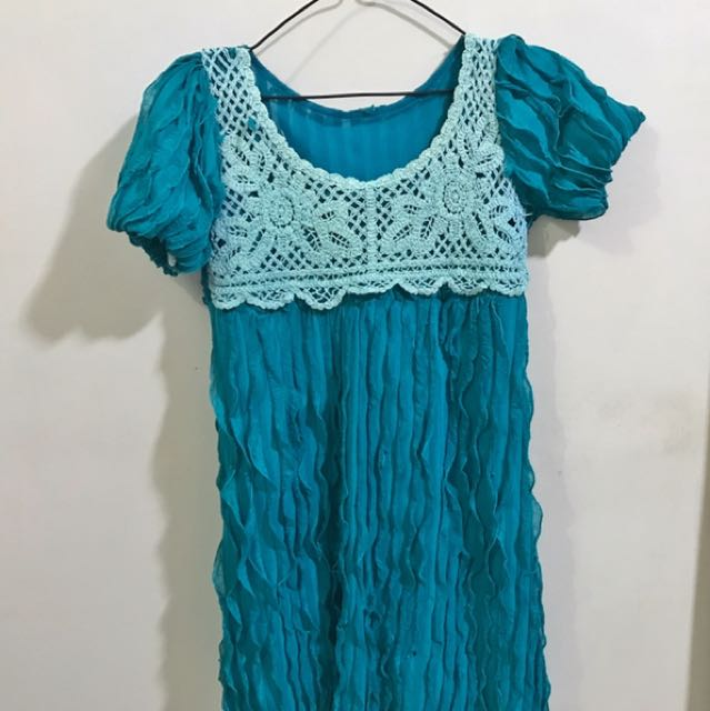 Blue Green Flowy Lace Dress