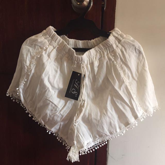 Boho White Shorts