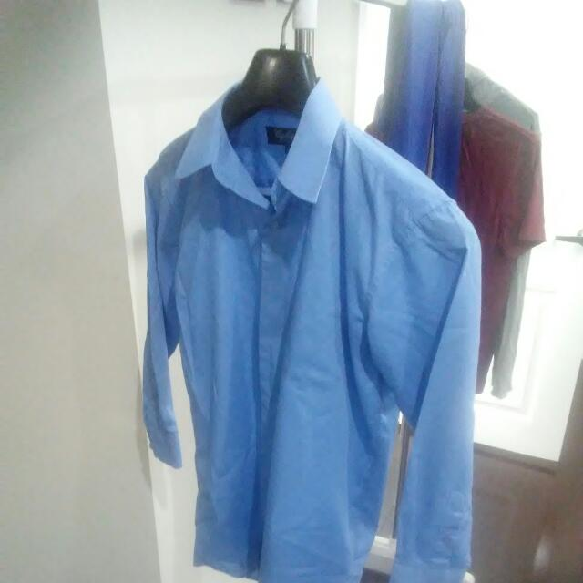 Boys Blue Dress Shirt Italian Cogliano Collection L 10/12