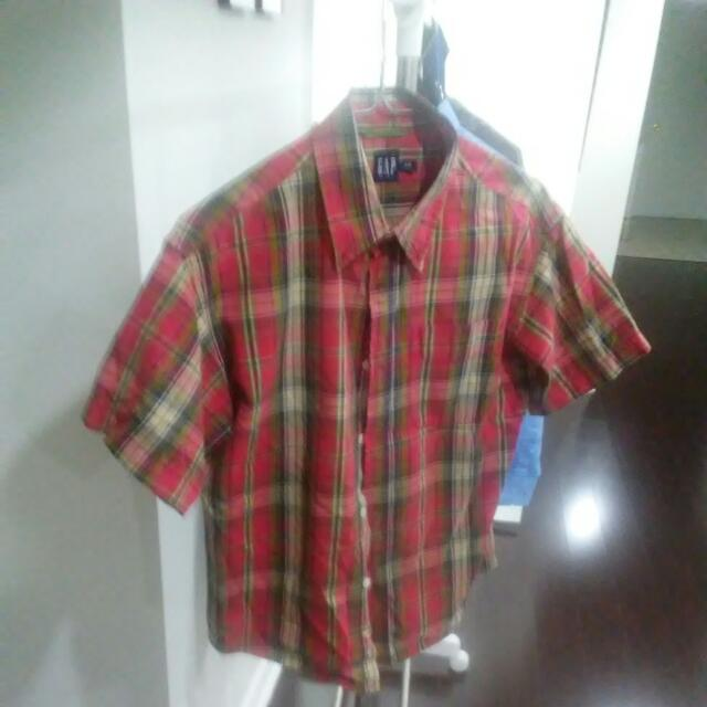 Boys Red Plaid Shirt Cotton Gap Size medium