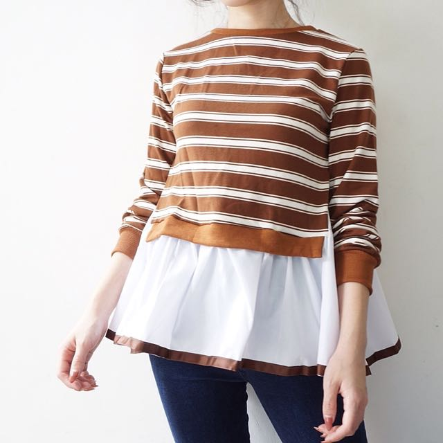 PAFON Brown Stripes Top