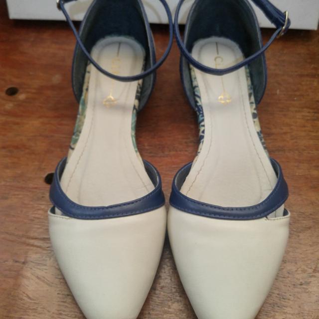 Celine Sandals Off White/ Dk Blue Size 38 Or US Size 7