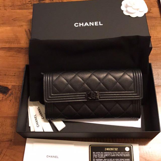 Chanel 黑色boy CC荔枝皮長夾
