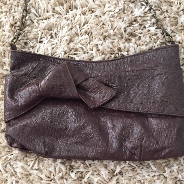 Chocolate Leather Clutch $5 With Another Purchase