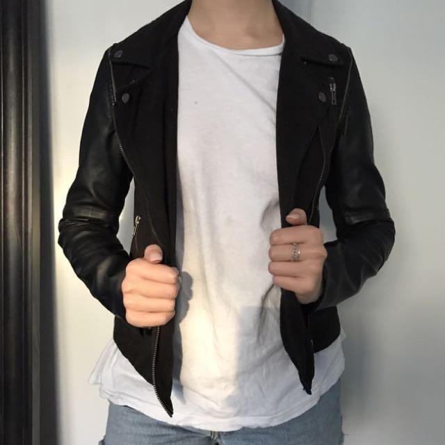 Decjuba PU Leather Sleeve Biker Jacket