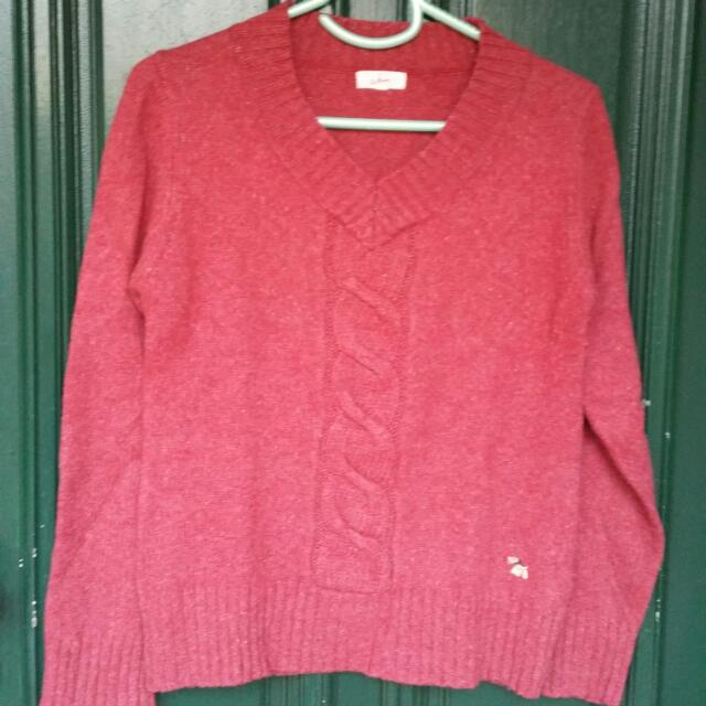 Size 10 Medium Dusty Red Knit