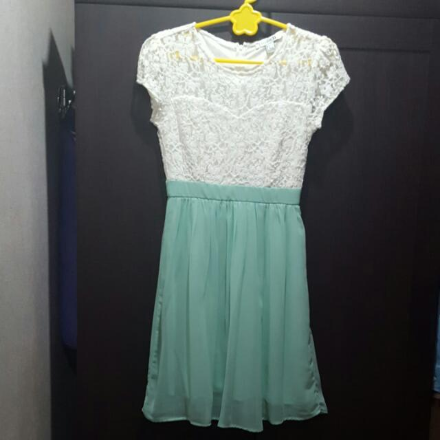 Forever 21 Mint Green & White Dress