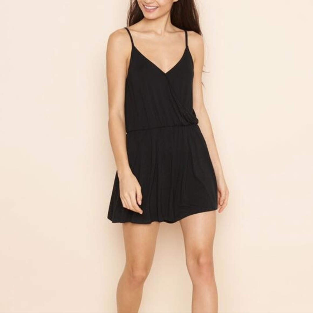 Garage Cross Front Black Romper, XS