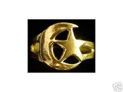 Gold Plated Moon and Star Celtic Ring Jewelry Silver Choose your ring size