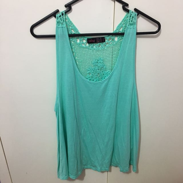 Green Lace Back Top