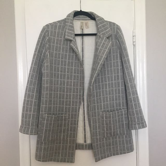 Grey Coat With White Detailing