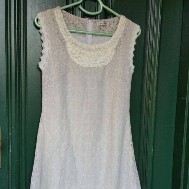 Grey Cream Lace Mini Dress