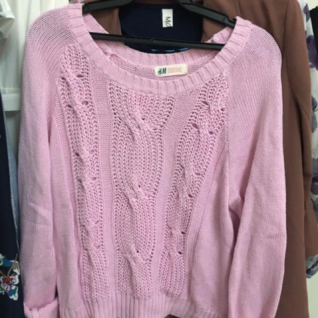 H&M粉色麻花針織短版上衣