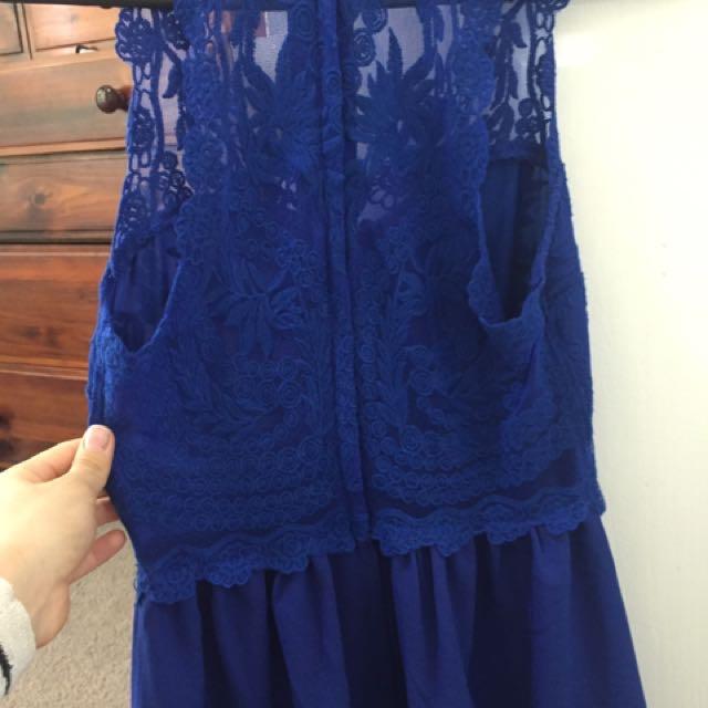 H&M New Lacy Detail Blue Dress