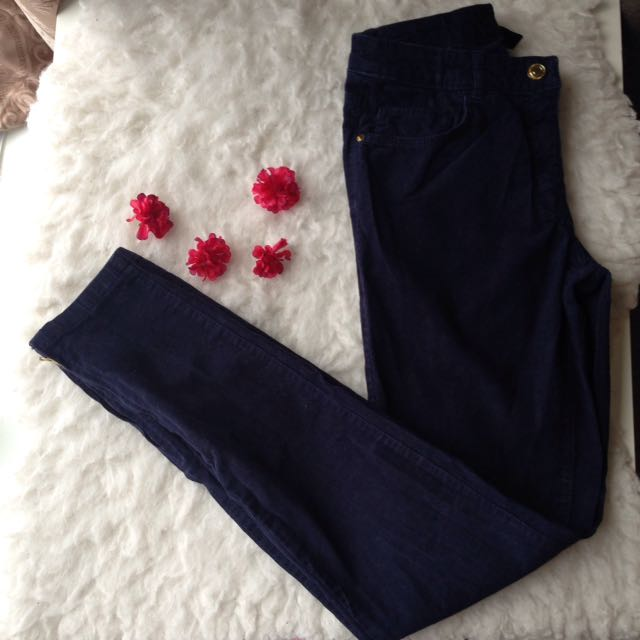 H&M velvet blue trousers