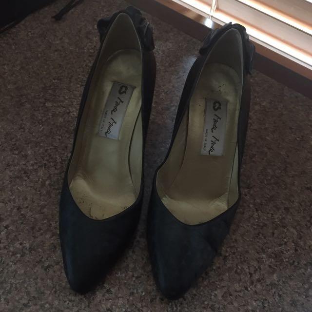 Italian Black Leather Heels