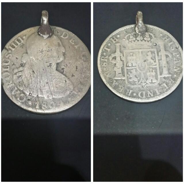 Koin Perak Asli Carolus IIII Thn 1804 Gantungan