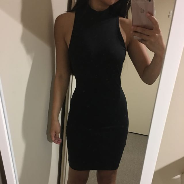 Kookai Black High Mock Neck Dress