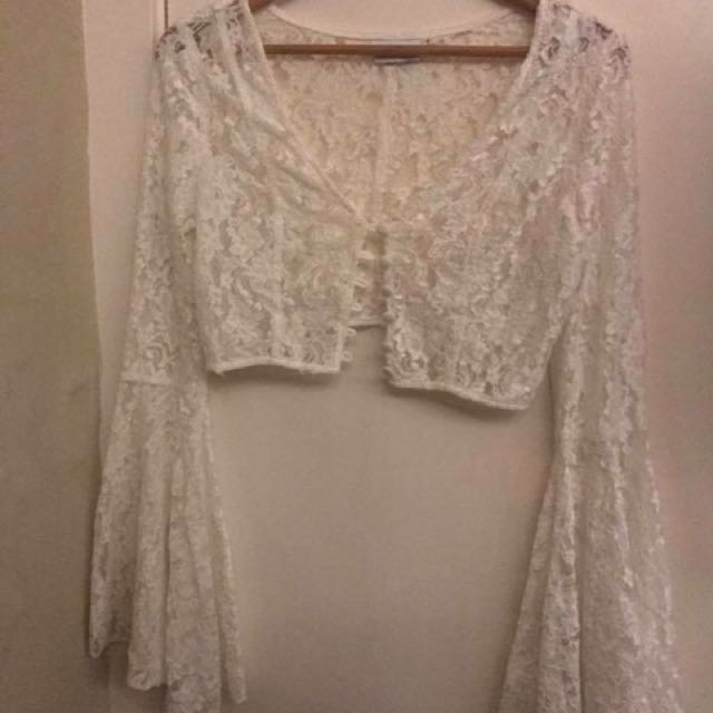 Lace Belle Sleeve Top 70s