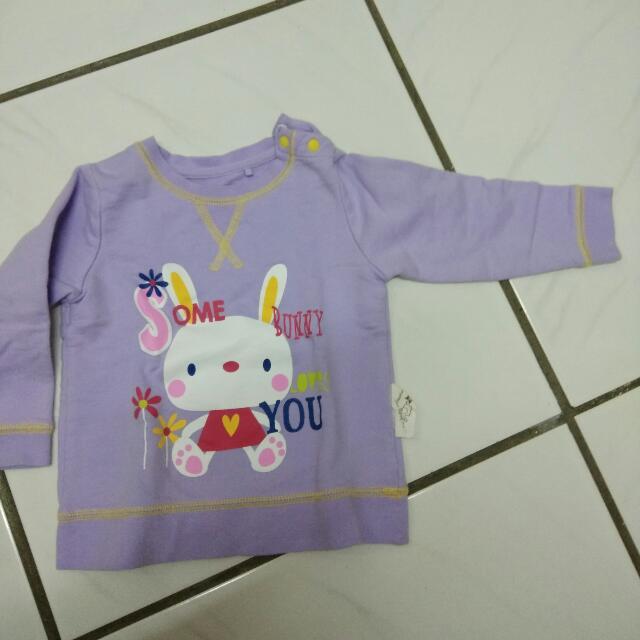 幼兒長袖紫色兔子Lativ,二手