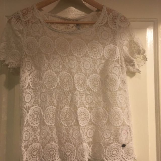 Lee Cooper Size 12 Off White Lace Top