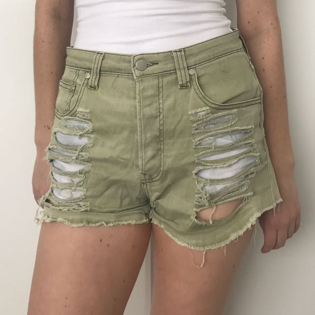 MINKPINK Green Ripped Shorts