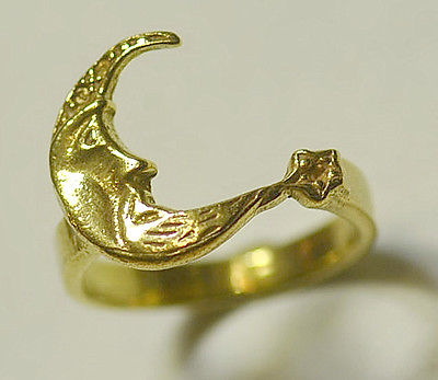 Moon Goddess face & Star Celtic 24kt gold plated Sterling Silver ring Jewelry Choose your ring size