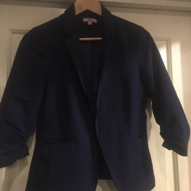 Navy Lined Blazer (3/4 Sleeve) Size 10 SES