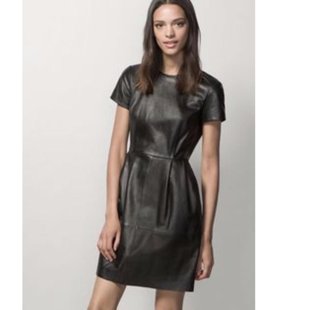 NEW Massimo Dutti Leather Black One Piece Dress