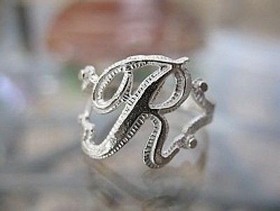 New Sterling silver 925 letter Initial R ring jewelry Choose your ring size