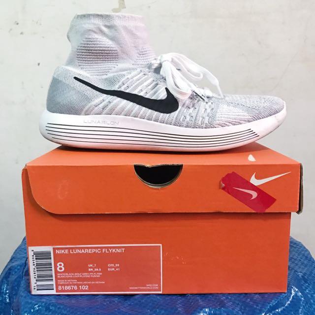 Nike Lunarepic Flyknit 灰白襪套鞋