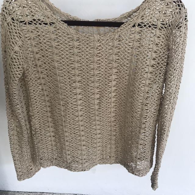 Nude Beige Crochet Top